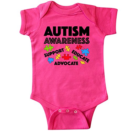 inktastic Autism Awareness- Support, Educate, Infant Creeper 12 Months Hot Pink