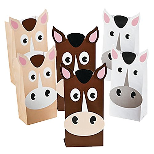 (Fun Express Set of 24 Horse Theme Treat Bags in Beige, Brown and White)