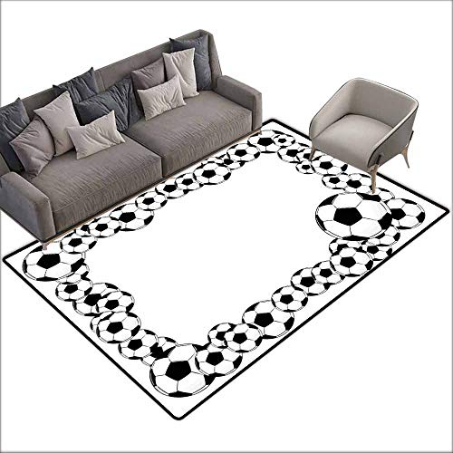 Bedroom Floor Rug Soccer Monochrome Football Frame Pattern Abstract Illustration Playing Sports Game Easy to Clean Carpet W6'7 x L7'10 White Charcoal Grey
