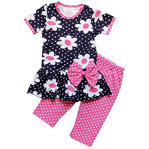 So Sydney Girls Toddler 2 Pc Novelty Summer Long Shorts & T-Shirt or Tunic Top Daisy (XS (2T), Polka Dot Daisy ()