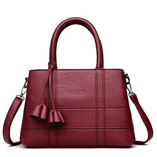 Cuir En Casual Vin bandoulière Doux Wangkk Souple Rouge Sac Marque Femme à Mode Couture BwnqS5z8