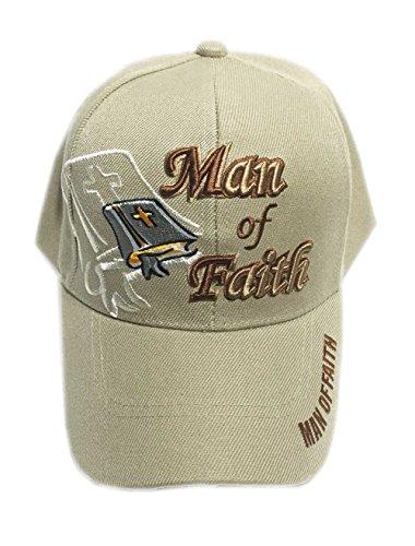 Aesthetinc Christian Bible Verse Print Design Baseball Cap Hat (Man of Faith Khaki)