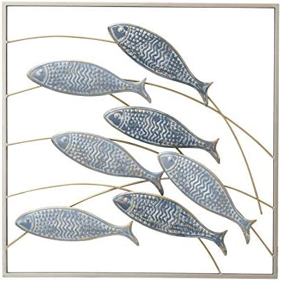 WHW Whole House Worlds Framed Wild Fish Metal Wall Decor