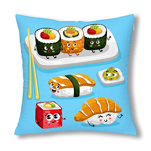 INTERESTPRINT Funny Cartoon Sushi Emoji Cute Emoticon Face of Japanese Food Decorative Cushion Pillow Case Cover 18x18 Inch, Decor Square Zippered Pillowcase Protector ()