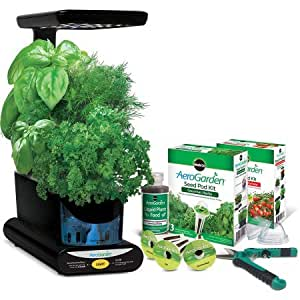 "AeroGarden Miracle-Gro 12"" Sprout Plus with Gourmet Herbs Seed Pod Kit, Bonus Mighty Mini Tomato Seed Pod Kit and Gardening Shears"
