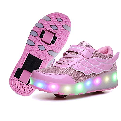 Qneic USB Rechargeable Wheel Shoes Roller Sneaker As Gift for Girls Boys Kids