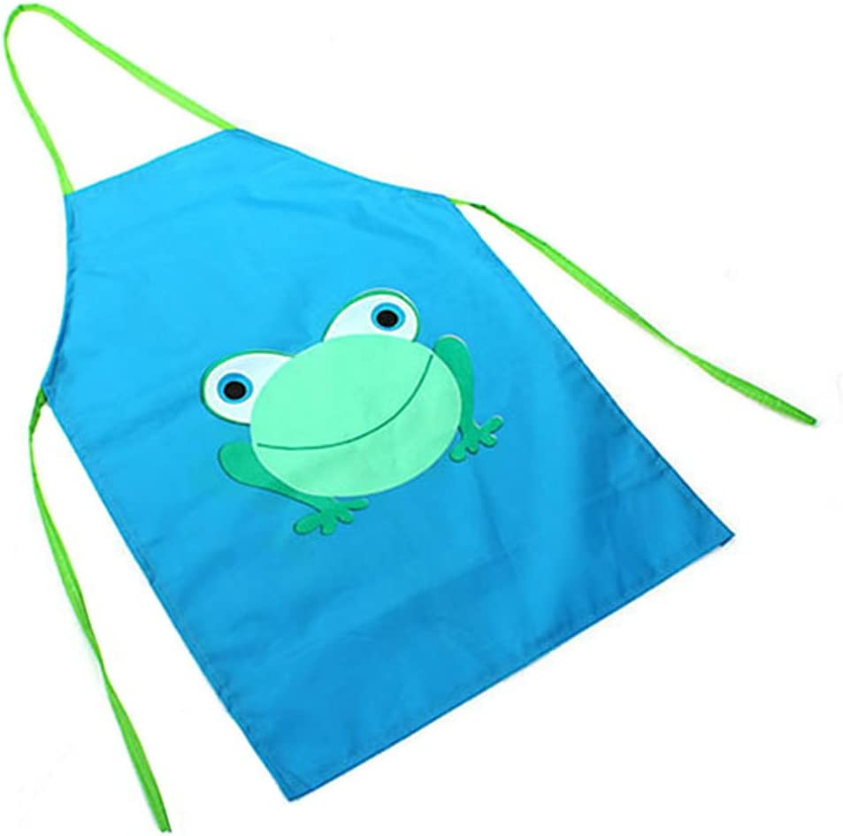 Amazon Com Children S Waterproof Cartoon Frog Printed Painting Cooking Apron Blue Toys Games