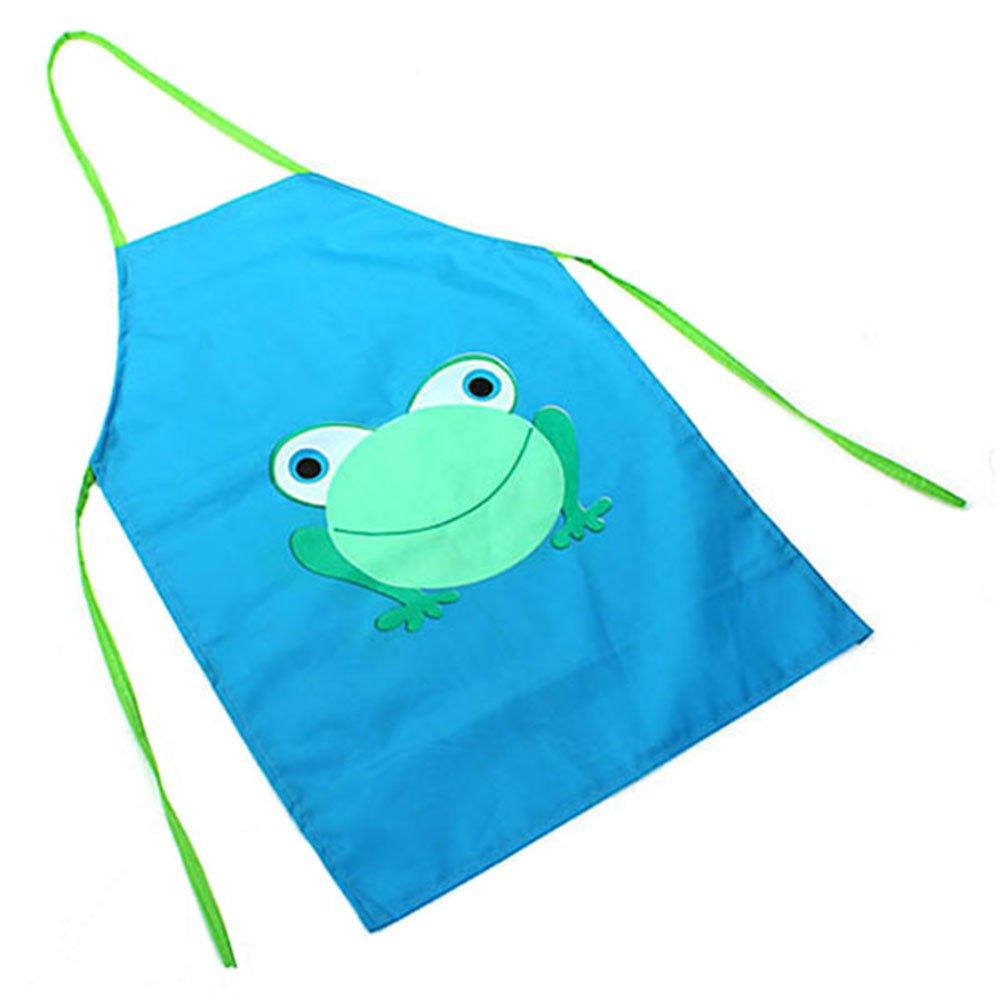 Children's Waterproof Cartoon Frog Printed Painting Cooking Apron Blue