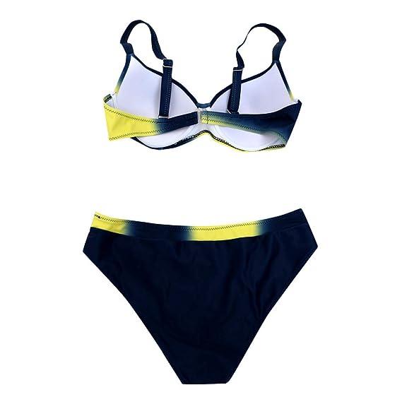 Traje de Baño Sexy Bañador Push-up Acolchado Hard Bra Natación Conjunto de Bikini 2019 De Verano Gradiente Tankinis Tops y Braguitas Cintura Alta 2 Piezas ...