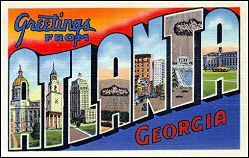 MAGNET 3x5 inch Vintage Greetings from Atlanta Sticker (Old Postcard Logo atl Georgia) Magnetic vinyl bumper sticker sticks to any metal fridge, car, signs ()