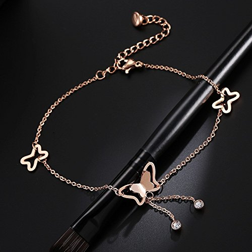Diamond Butterfly Charm - Unique Fashion Tassel Single Diamond Anklet Butterfly Women Girls 18k Rose Gold Plated not Fade Color Gold Charm Bracelet Bangle Gift
