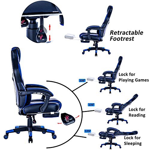 KILLABEE Racing PC Gaming Chair Ergonomic High Back Reclining Office Desk  Chair Swivel With Retractable ...