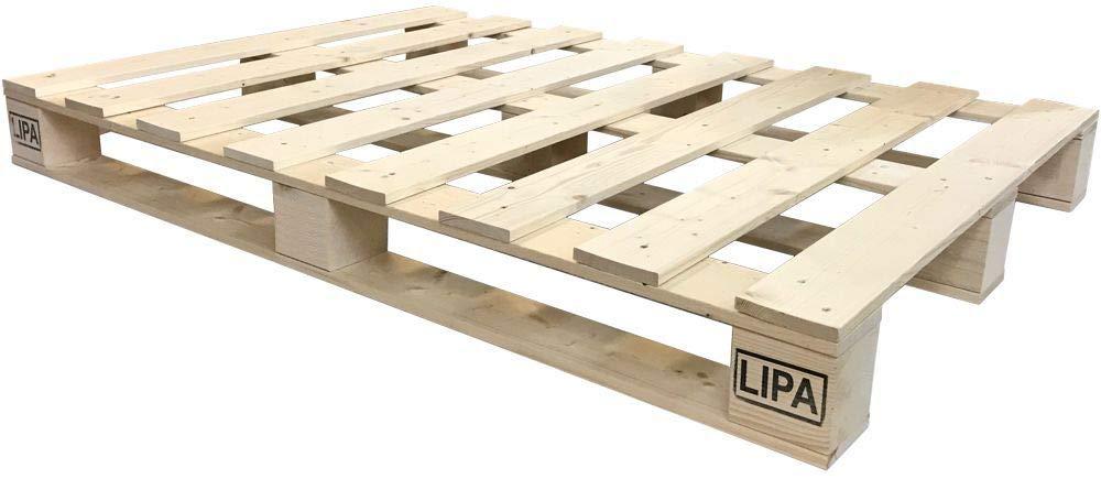 LIPA Palettenbett Bett Holz Massivholzbett 90 90 90 100 120 140 160 180 200 x 200cm, Palettenmöbel hergestellt in BRD (120x200) 295722