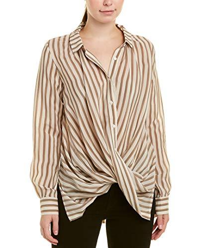 Gold Hawk Womens Wrap Silk Shirt, L, White