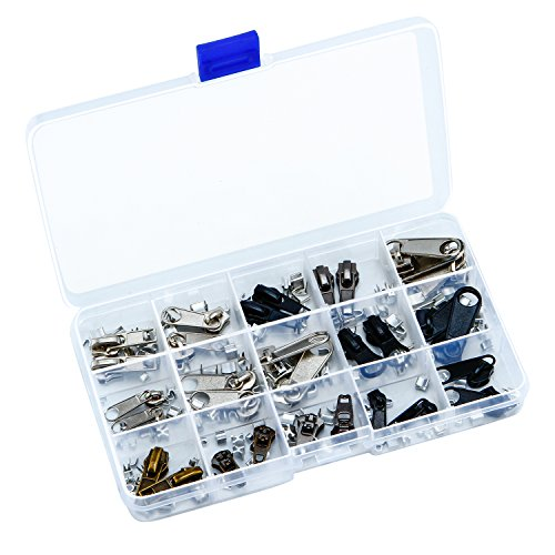 Aneco Zipper Repair Kit Zipper Replacement Pack Assorted Zipper Pulls with Organizing Boxes