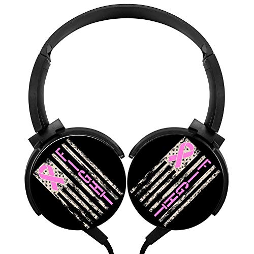 PjNnt Breast Cancer Awareness Ribbon Deep Bass Wired Headphones Stereo HiFi Over Ear Earphone Black