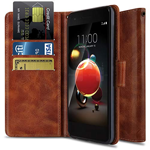 Wallet Case for LG Aristo 2 X210/LG Rebel 3 LTE L158VL/LG Rebel 4 4G LTE/LG Tribute Dynasty/LG K8+ 2018/ LG Phoenix 4, OTOONE [Flip Folio] PU Leather Protective Phone Cover with Kickstand (Bronze) (Phone Cell Lte 4g Case Lg Tribute)