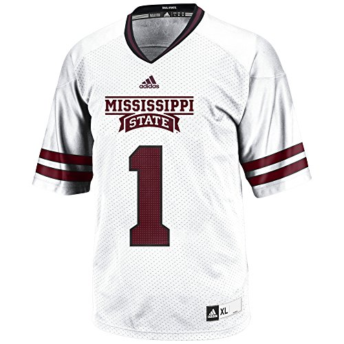 adidas NCAA Mississippi State Bulldogs Men's 3-Stripe Football Jersey, Medium, White State Bulldogs Football Jersey