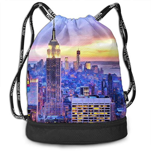 (Zhangyi NYC Sunset Watercolor Painting New York City Drawstring Backpack Sports Gym Cinch Sack Bag For Women Men Girls Sackpack Dance)