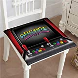 "Classic Decorative Chair pad Seat Arcade Machine Retro Gaming Fun Joystick Buttons Vintage 80s 90s Electronic Multicolor Cushion with Memory Filling 26""x26""x2pcs"