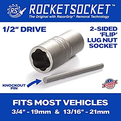 ROCKETSOCKET   Made in USA   Damaged Lug Nut & Wheel Bolt Removal Socket   Extract Frozen, Rusted, Rounded-Off Lug Nuts & Wheel Bolts   2-Sided 1/2