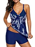 Zando Women Plus Size Print Swimwear Halter Strap Tankini Sets Two Piece Swimsuit Sporty Bathing Suit for Spring Summer Geometric Print Blue 3X-Large (US 18-20)