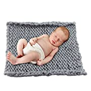 Play Tailor 19.6 x19.6  Chunky Knit Blanket for Newborn Baby Photography, Multi Use Chunky Yarn Chair Pad and Sofa Cushion (Grey)