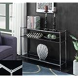 Convenience Concepts 134099B Royal Crest Console Table, Chrome/Black Glass
