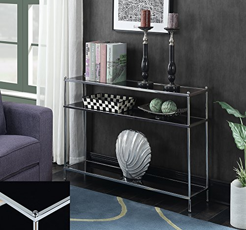 Convenience Concepts 134099B Royal Crest Console Table, Chrome/Black Glass