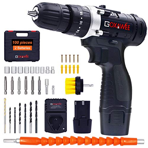 GOXAWEE Cordless Hammer Drill Kit, 12V 2Pcs Batteries Screwdriver Set Only $38.99