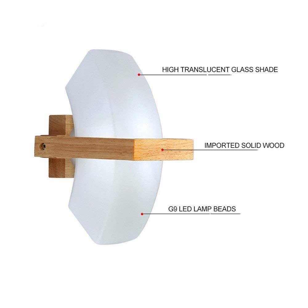 Wall Light Home Holz Moderne LED-Wandleuchte, einfache mysteriöse Half Moon kreative Wandleuchten Wandleuchten Flur LED-Lampen Glaslampe Massivholz Innenbeleuchtung