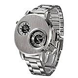 IEason,New Mens Stainless Steel Date Military Sport Quartz Analog Wrist Watch (Silver)