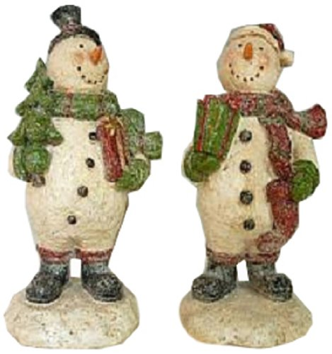 Craft Outlet Two Resin Snowman Figurine, 4.55 by 4.15 by 8.85-Inch