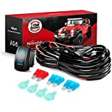 Nilight NI -WA 07 LED Light Bar Wiring Harness Kit REAR LIGHTS 12V 5Pin Rocker Switch Laser On off Waterproof Switch Power Relay Blade Fuse-2 Lead,2 Years Warranty