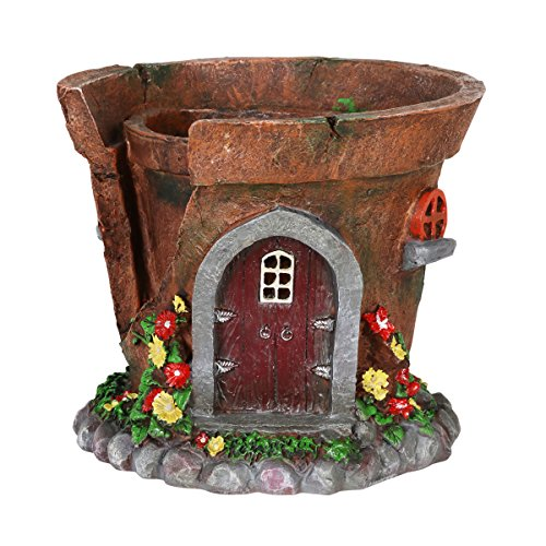 Fairy House Flower Pot – Pot/Planter w/Solar Garden Lights