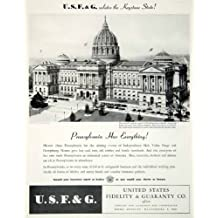 1945 Ad Fidelity Guaranty Pennsylvania Capitol Harrisburg USF&G Fire Historical - Original Print Ad