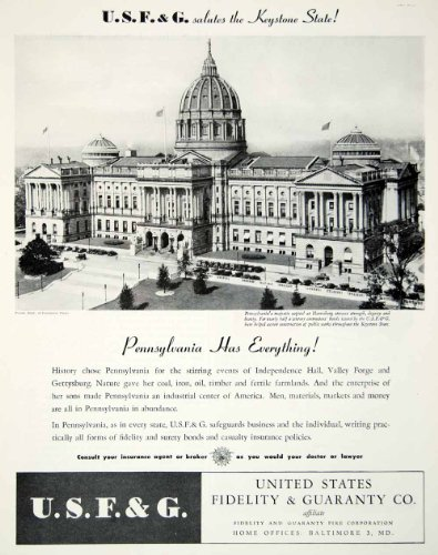 1945 Ad Fidelity Guaranty Pennsylvania Capitol Harrisburg Usf G Fire Historical   Original Print Ad