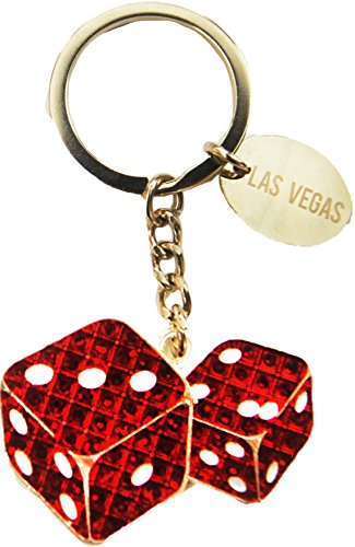 Classic Red Dice of Las Vegas Casinos Keychain