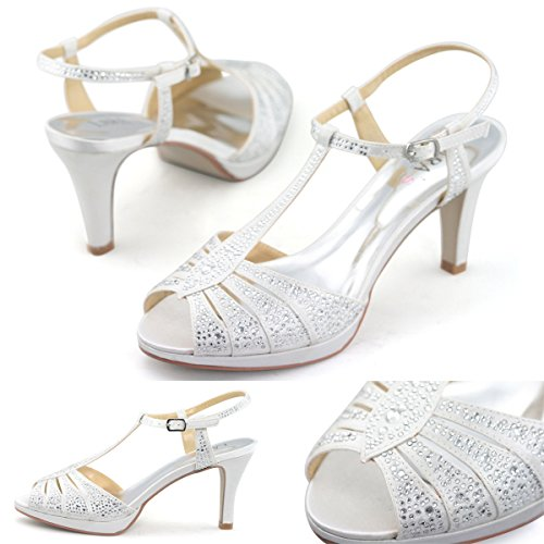 SHOEZY Womens Satin Bridal Heel Sandals US 8 Matching Crystal Clutch Evening Bag White