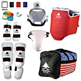 Pine Tree Complete Vinyl Martial Arts Sparring Gear Set with Bag, Shin Insteps, Groin, Small White Headgear, Child Small Other Gears Female