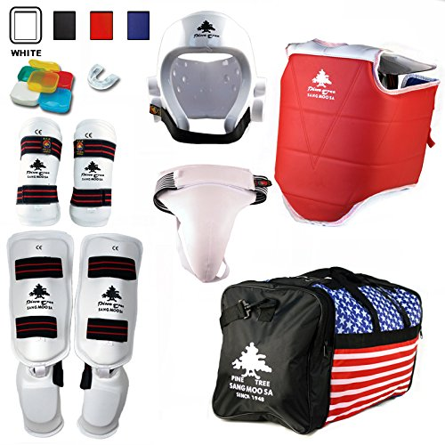 Pine Tree Complete Vinyl Martial Arts Sparring Gear Set with Bag, Shin Insteps, & Groin, Large White Headgear, Child Large Other Gears Male