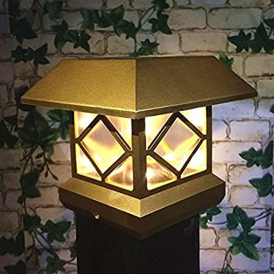 Solar Light,Post Cap Lights 4 x 4 Plus Bright 15Lumen 2 Pack Outdoor Warm White LED Lamp For Vinyl Posts Caps 3.5x3.5 4x4 5x5 6x6 Waterproof Deal of The Day Prime Sogrand Golden Lantern For Fence Deck