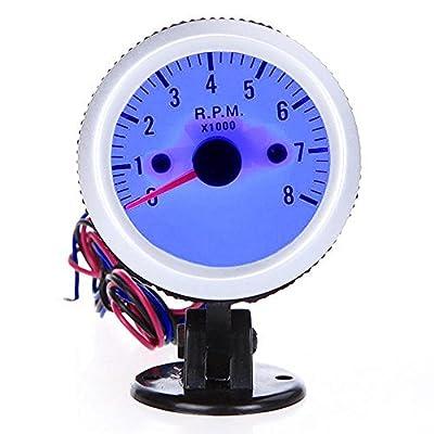 "Docooler Tachometer Tach Gauge with Holder Cup for Auto Car 2"" 52mm 0~8000RPM Blue LED Light: Automotive"