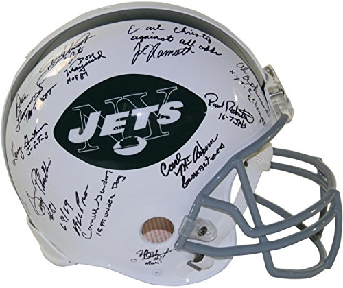 NFL New York Jets 1969 Signed Authentic 65-77 Throwback Helmet With Inscriptions