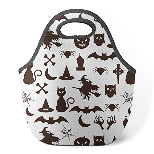 Good4Life - Neoprene Lunch Tote Insulated Reusable Picnic Lunch Bag [ Halloween Black Cat Pattern (Facts About Black Cats On Halloween)