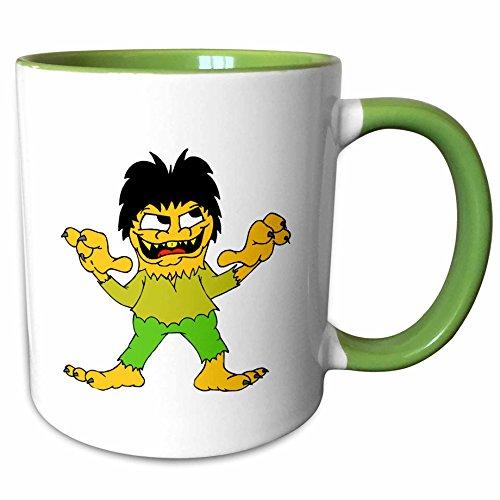 3dRose Susans Zoo Crew Holidays Halloween - short wolf man halloween graphic - 11oz Two-Tone Green Mug (mug_178384_7)