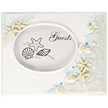 "Fashioncraft Finishing Touches Collection Beach Themed Wedding Guest Book, 9.5"" Wide X 7.5"" X 2"""", White , Blue , Coral"