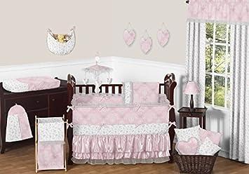 Shabby Chic Baby Bedding amazon com jojo designs 9 pink gray and white shabby