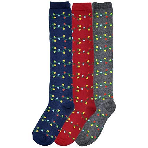 Angelina Novelty Holiday Lights Knee-High Socks (3-Pairs), 2555_9-11]()