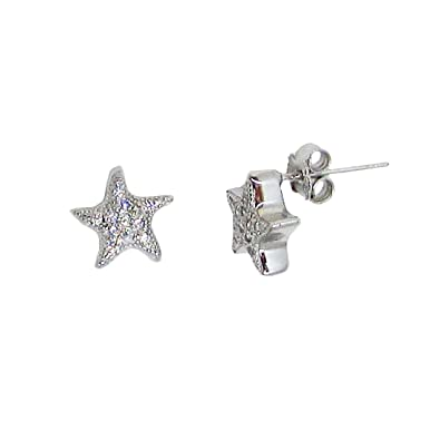 0d3664e6a Image Unavailable. Image not available for. Color: Small Sterling Silver CZ  Textured Star Micro Stud Earrings